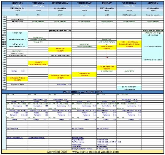 Google Sheets Travel Itinerary Template New Vacation Planner Template Excel
