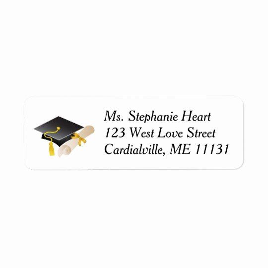 Graduation Address Labels Template Free Lovely Graduation Cap and Diploma Return Address Labels