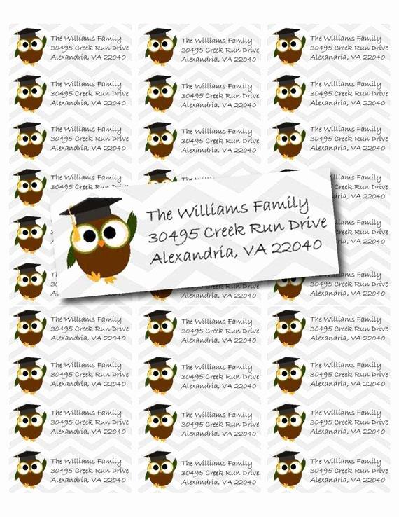 Graduation Address Labels Template Free Unique Cute Graduation Owl Printable Return Address Labels Pdf