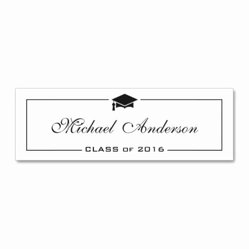 Graduation Name Cards Template Awesome Graduation Name Card Elegant Classic Insert Card