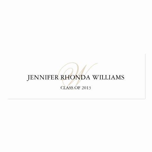 Graduation Name Cards Template Elegant Elegant Monogram Student Graduation Name Card Double Sided