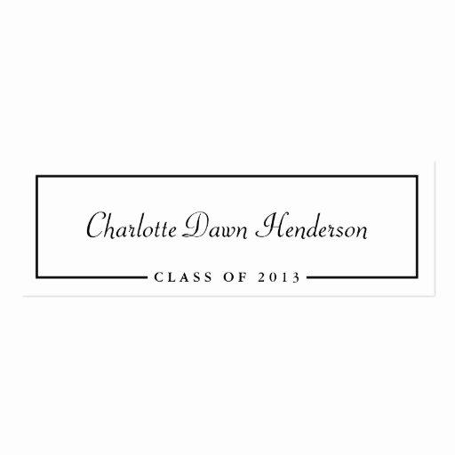 Graduation Name Cards Template Elegant Graduation Announcement Name Card Border Class Of Pack