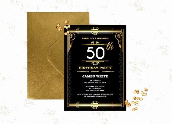 Great Gatsby Party Invitation Templates Luxury Great Gatsby Birthday Invitation Template Art by Partygraphix