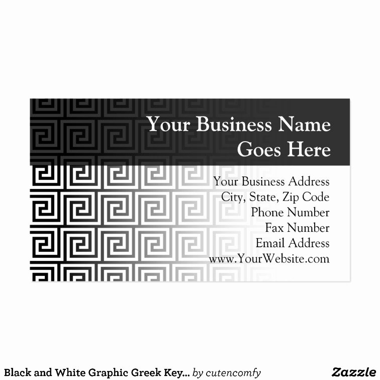 black and white graphic greek key pattern business card
