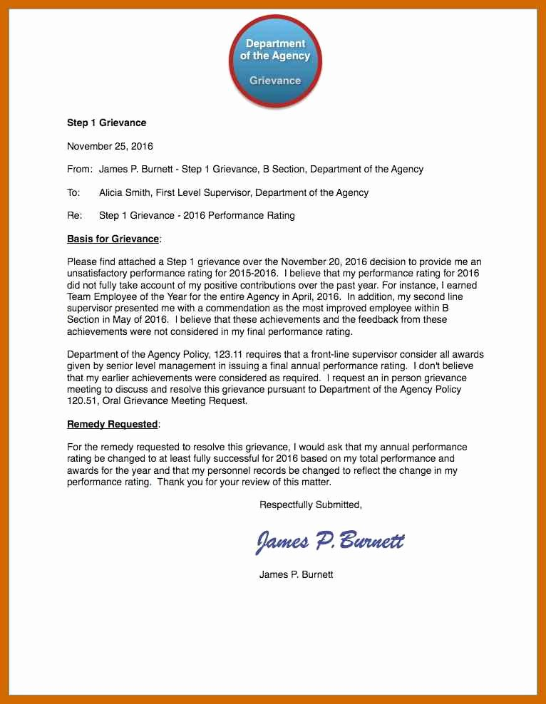 Grievance Appeal Letter Awesome 7 8 Grievance Appeal Letter