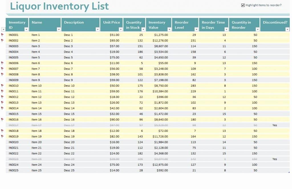 gun inventory spreadsheet