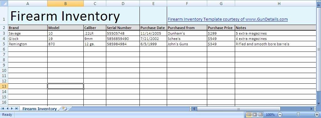 Gun Inventory Spreadsheet Inspirational Free Gun Inventory Spreadsheet Gun Details