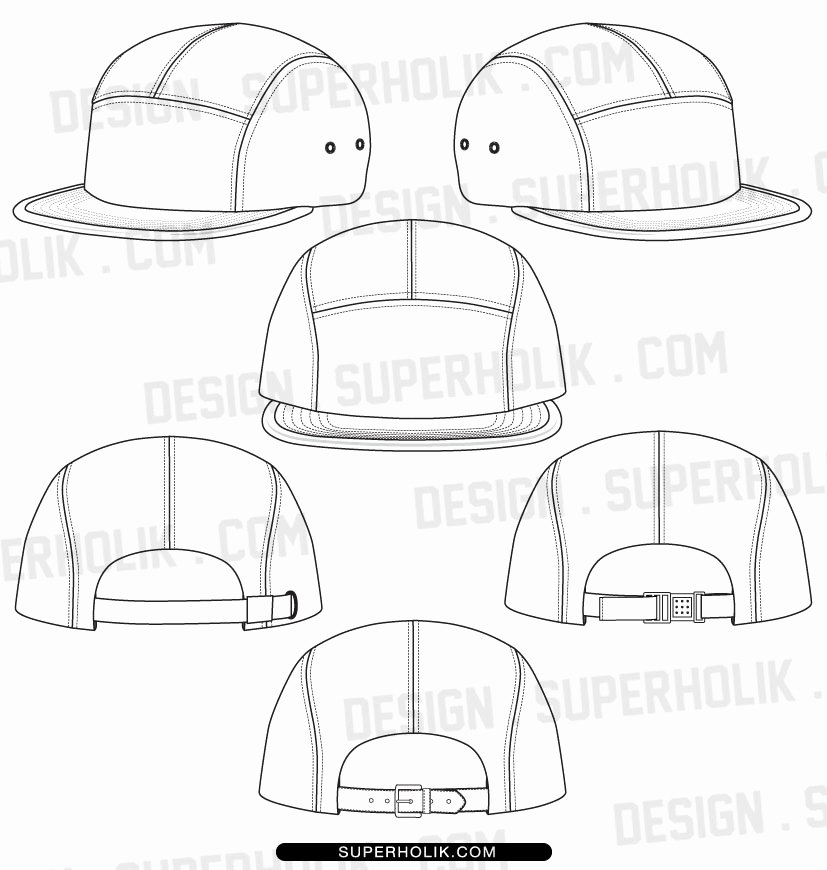 5 panel hat template