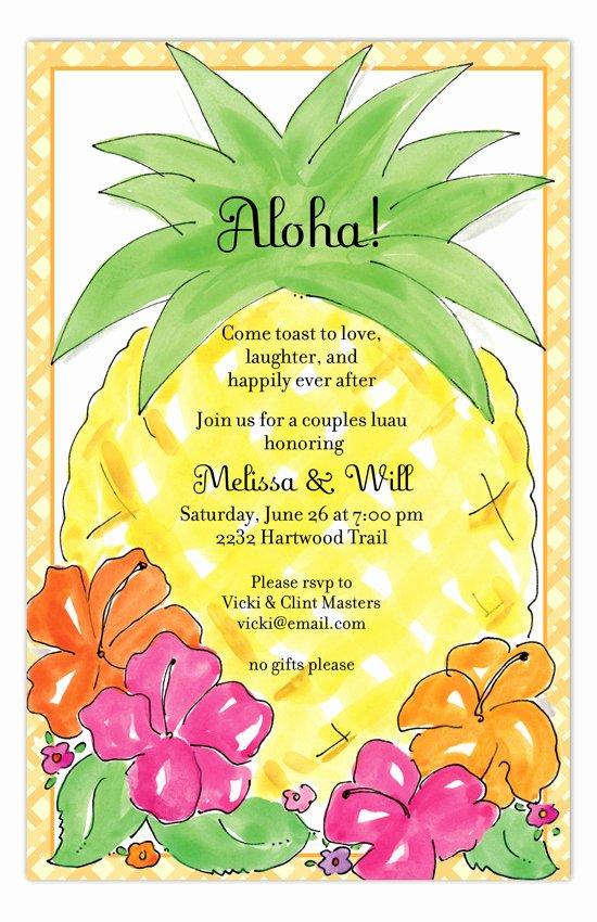 Hawaiian themed Invitation Templates Free Elegant Aloha Pineapple Luau Invitations