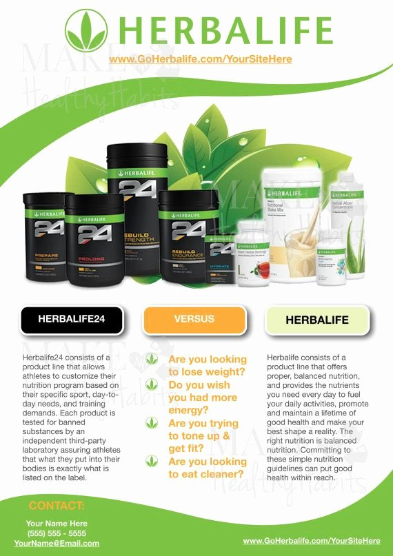 Herbalife Flyers Template Awesome Custom Print Ready Herbalife Contact Flyer by