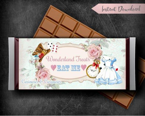 Hershey Bar Wrapper Dimensions Beautiful Alice In Wonderland Candy Bar Wrapper Printable Hershey Bar