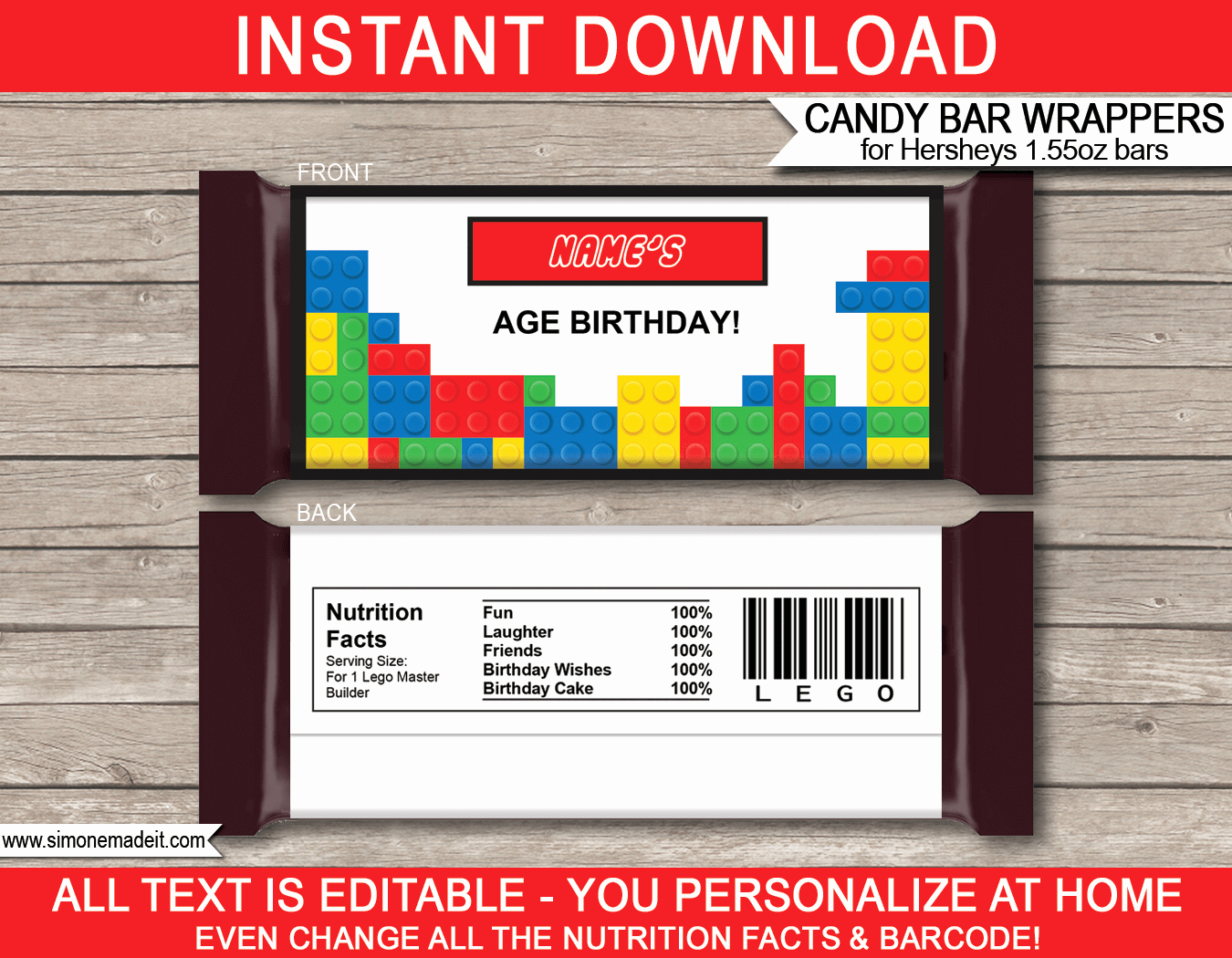 Hershey Bar Wrapper Dimensions Best Of Lego Hershey Candy Bar Wrappers