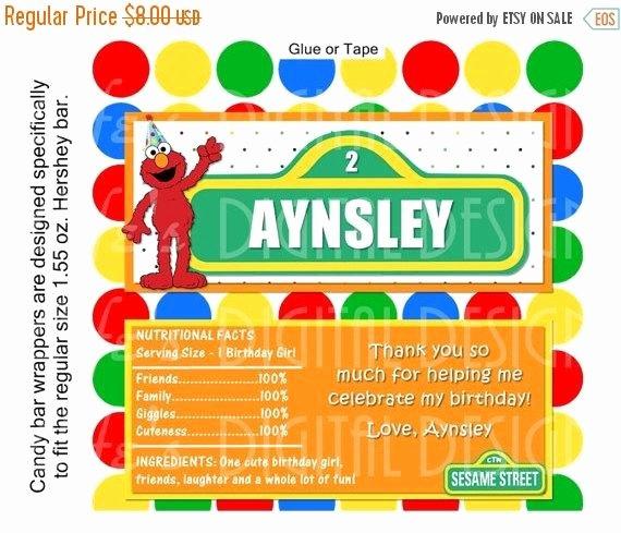 Hershey Bar Wrapper Dimensions Elegant Elmo Candy Bar Wrapper Full Size Printable by