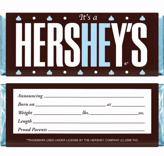 Hershey Bar Wrapper Dimensions New Hewraps Baby Boy Hersheys Candy Bar Wrappers Set Of 36