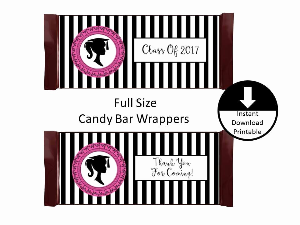 Hershey Bar Wrapper Dimensions Unique Girl Graduation Candy Bar Wrapper Full Size Graduation Party