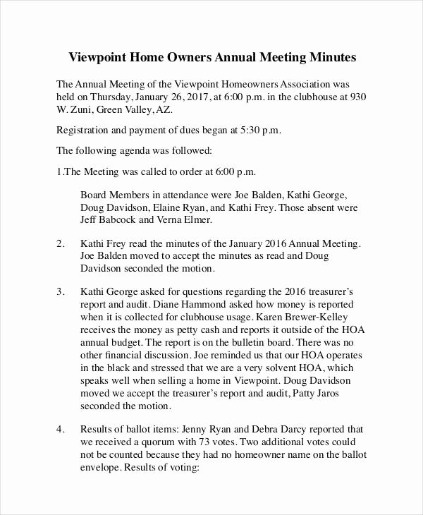 Hoa Board Meeting Minutes Template Fresh 27 Of Hoa Meeting Agenda Template Word