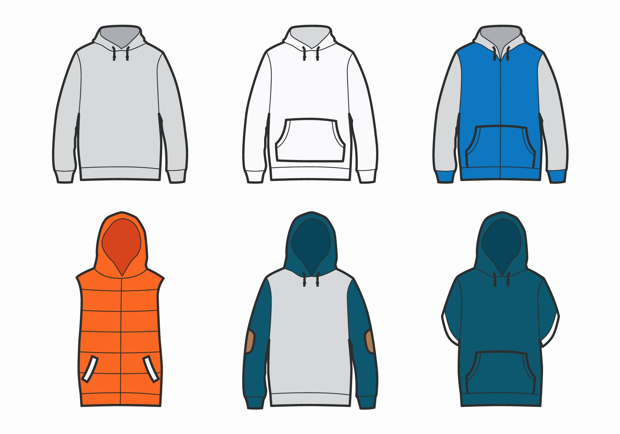 Hooded Sweatshirt Template Luxury Outlined Blank Hoo Template Download Free Vector Art