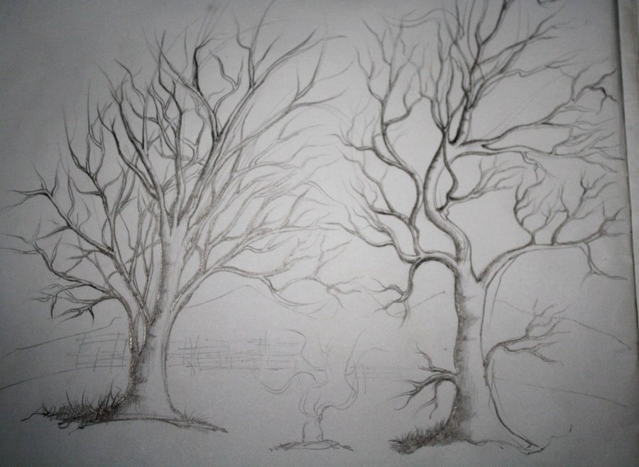 How to Draw A Simple Tree without Leaves Awesome Pin Sketches Scenery Embossed S On Pinterest
