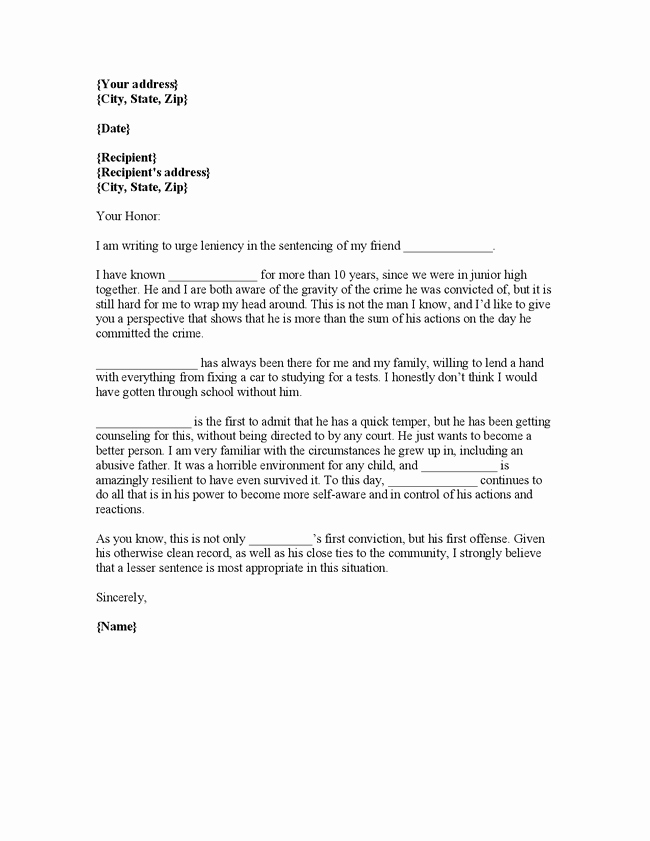 How to Write A Letter to A Judge Template Beautiful Writing Plea Leniency Letter Judge