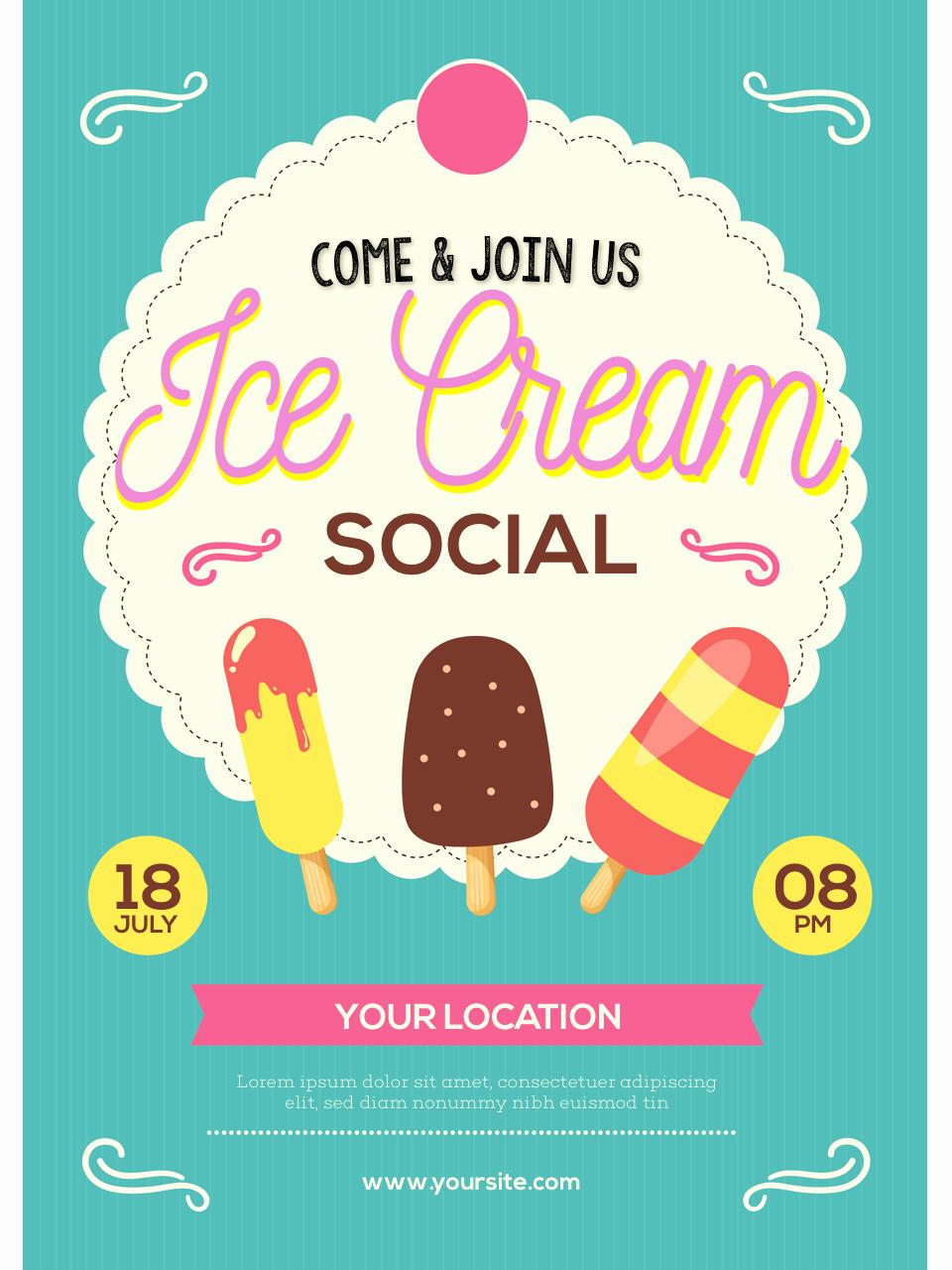 Ice Cream social Flyer Template Awesome Ice Cream social Flyer