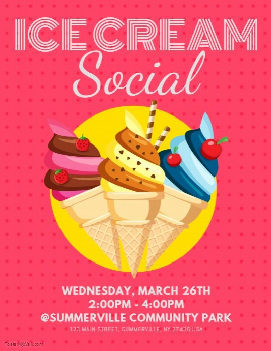 Ice Cream social Flyer Template Awesome Ice Cream social Flyer Template