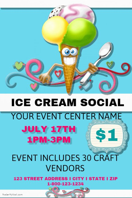 Ice Cream social Flyer Template Best Of Postermywall
