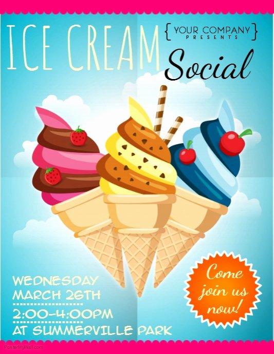 Ice Cream social Flyer Template Inspirational Ice Cream social Flyer Template