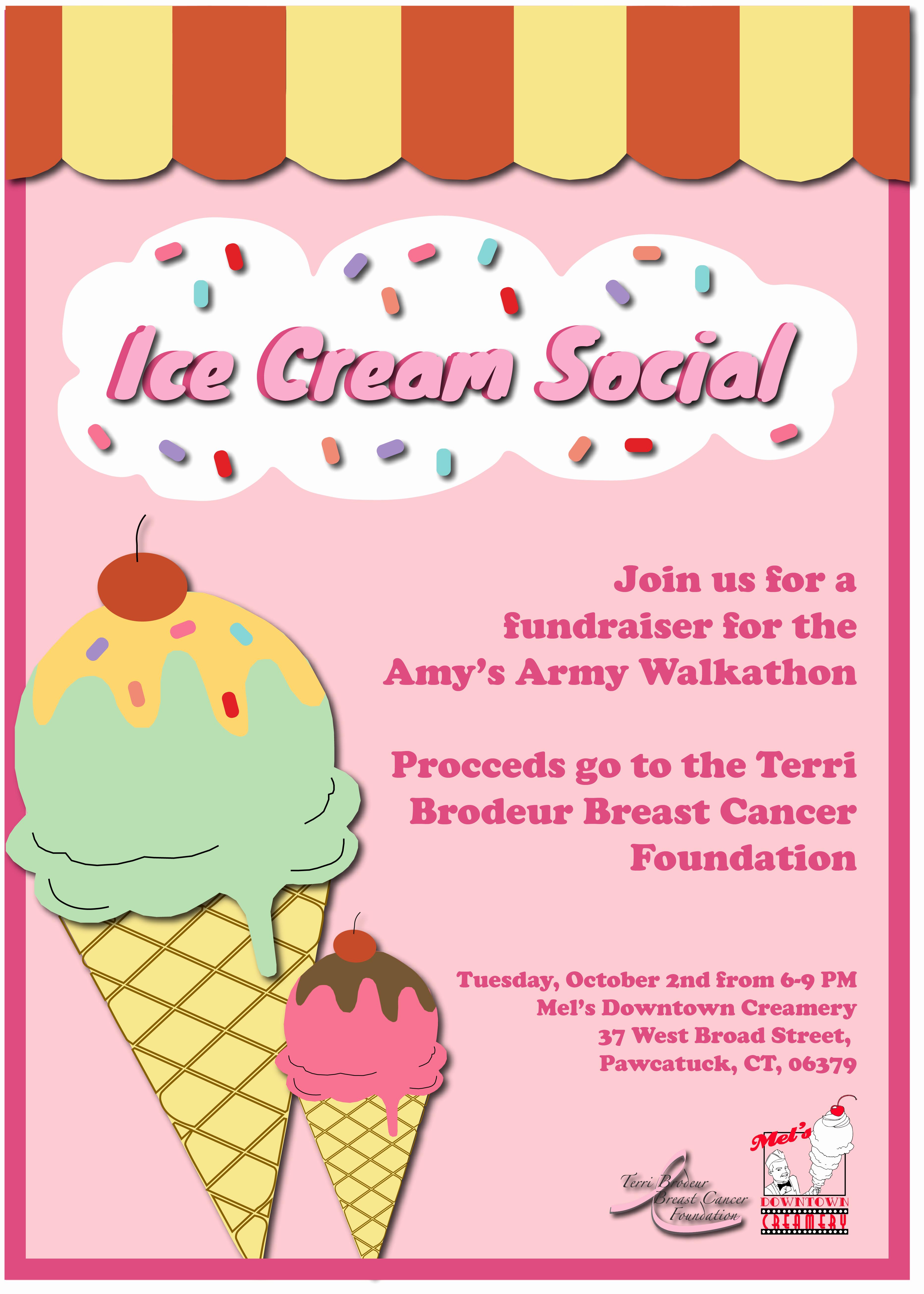 Ice Cream social Flyer Template Lovely Ice Cream social Flyer Terri Brodeur Breast Cancer