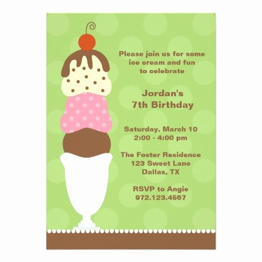 ice cream party invitation card