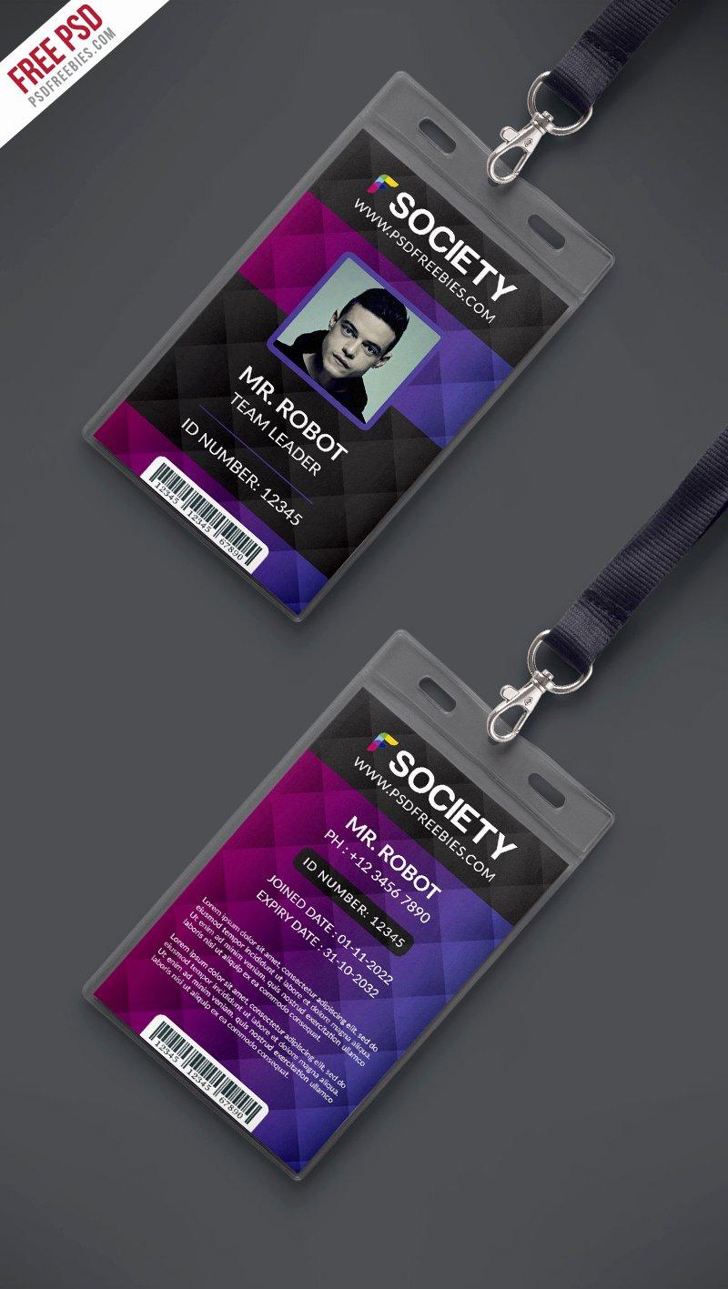 Id Card Template Photoshop Beautiful Corporate Fice Id Card Psd Template