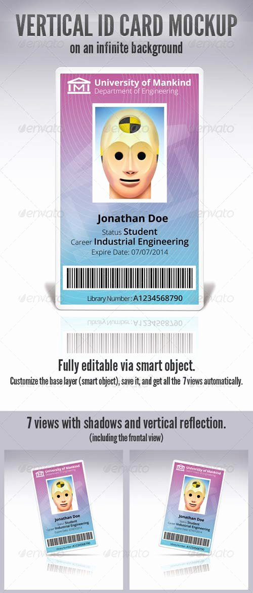 Id Card Template Photoshop Fresh Graphicriver Vertical Id Card