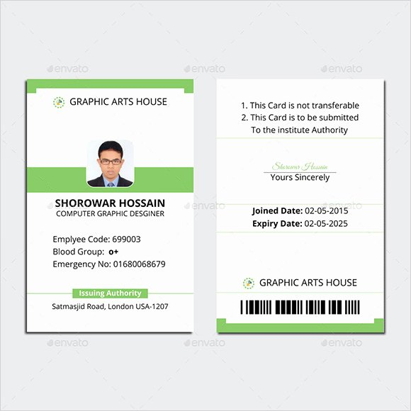 Id Card Template Photoshop Lovely Employee Id Card Template