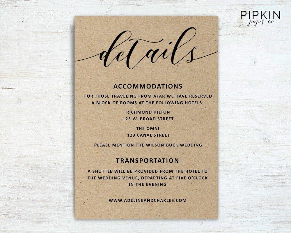Information Card Template Best Of Wedding Details Template Wedding Information Card Rustic