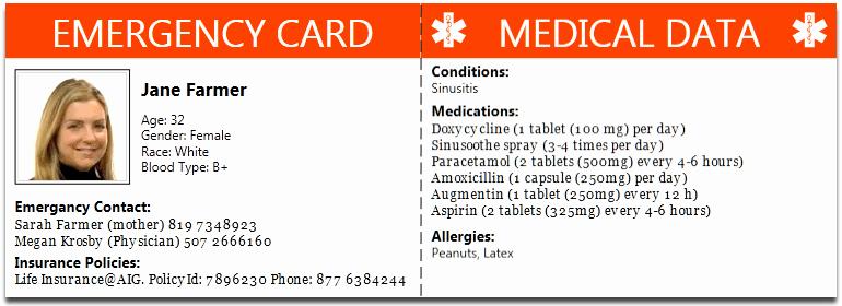 Information Card Template Elegant 10 Best S Of Diabetic Medical Id Card Free Printable