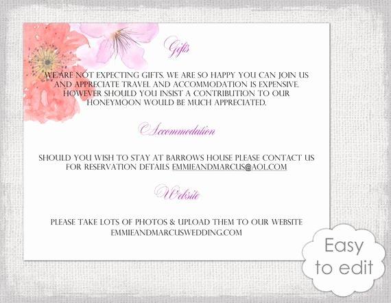 Information Card Template Inspirational Wedding Information Card Template Diy Printable Flower