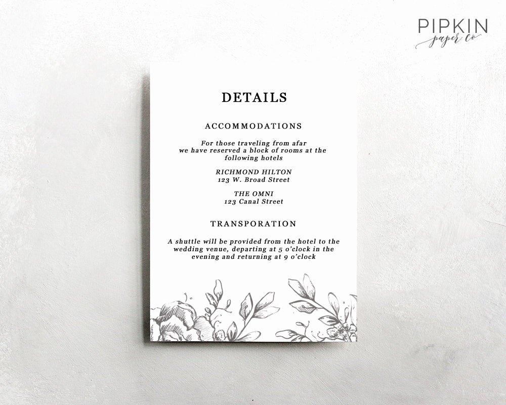 Information Card Template Lovely Wedding Details Template Information Card Template Wedding