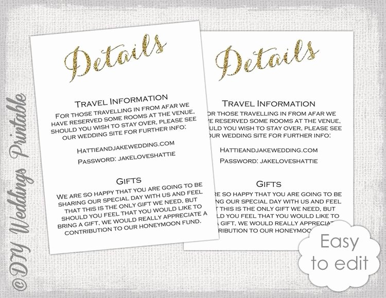 Information Card Template Lovely Wedding Enclosure Template Diy Calligraphy by