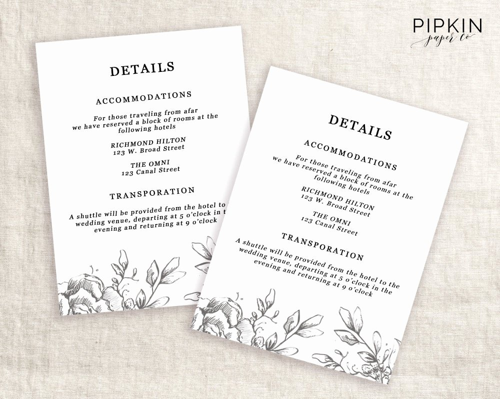 Information Card Template New Wedding Details Template Information Card Template Wedding