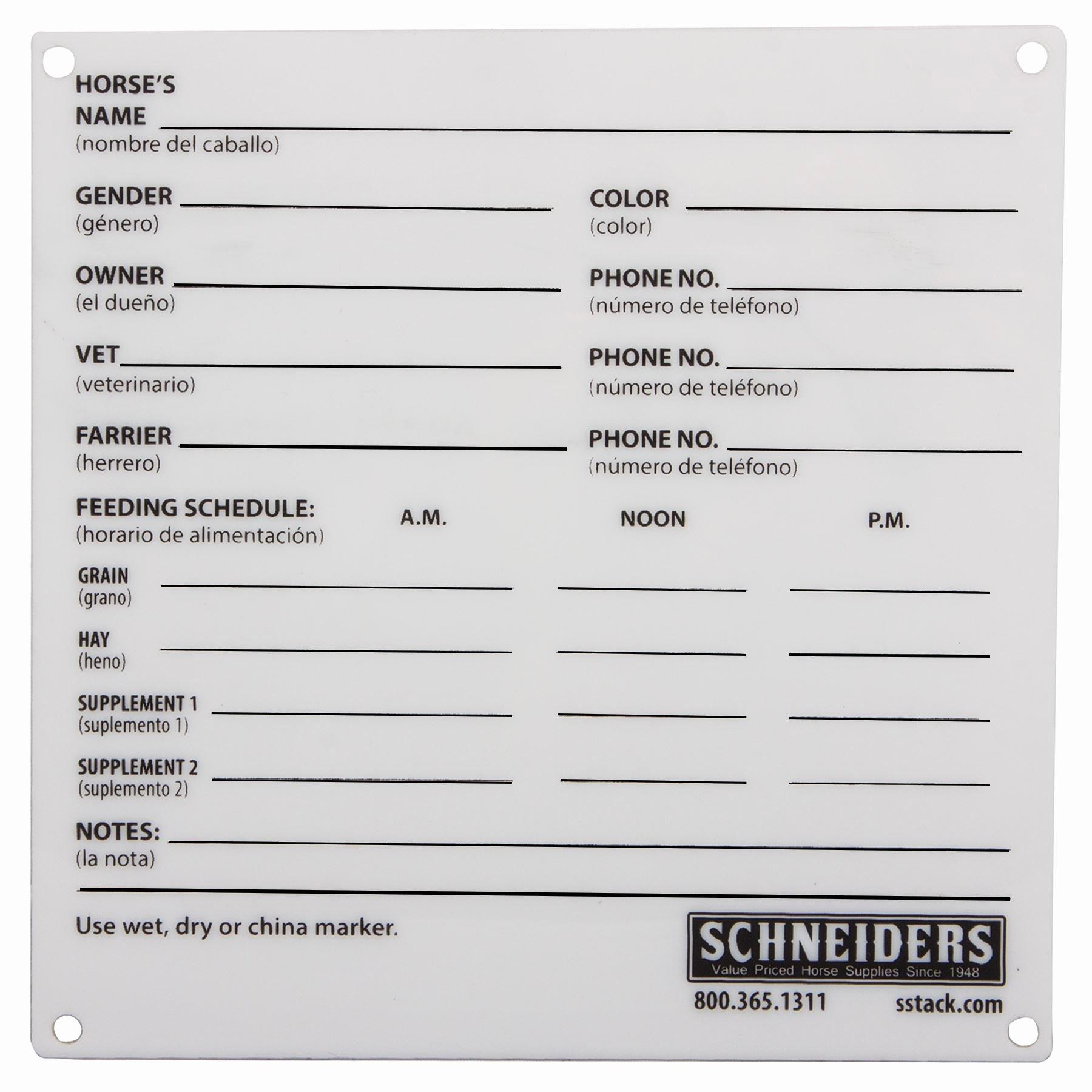 Information Card Template Unique Plexiglass Stall Information Card In Stable at Schneider