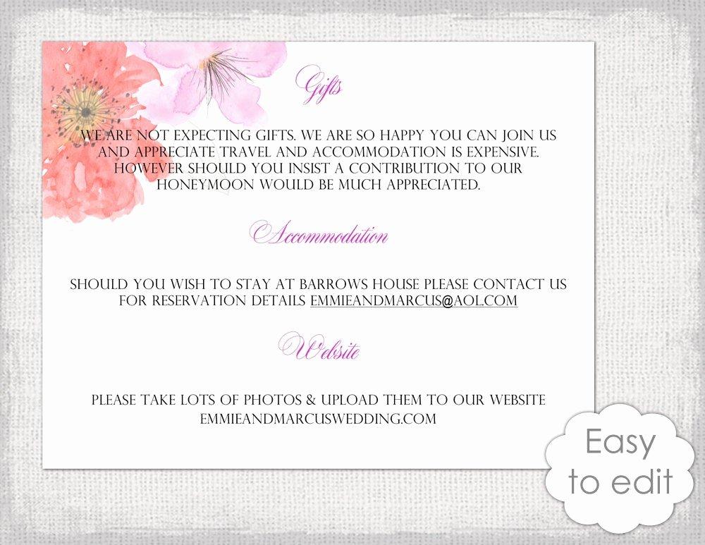 Information Card Template Unique Wedding Information Card Template Diy Printable Flower