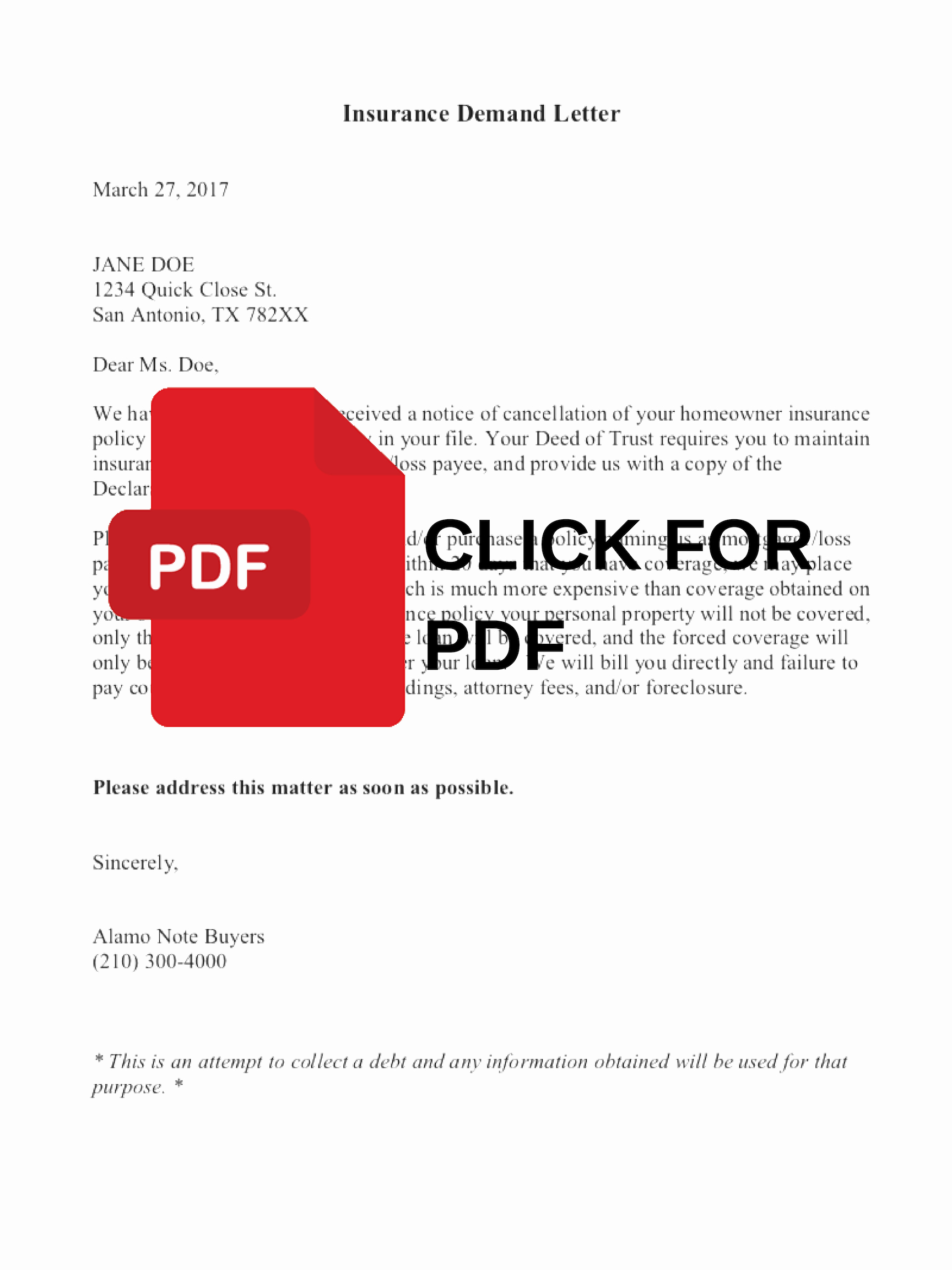 Insurance Demand Letter Beautiful Insurance Demand Letter Alamo Note Buyers