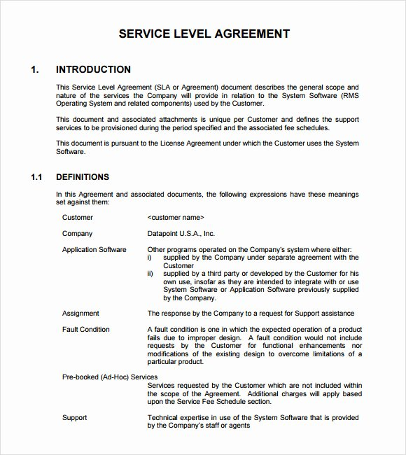 Internal Service Level Agreement Template Elegant 13 Service Level Agreement Samples