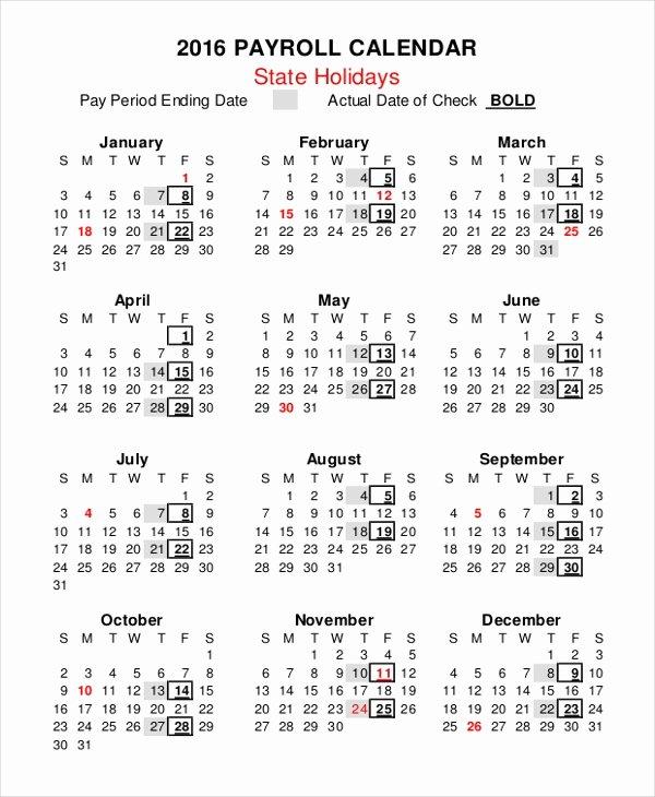 Intuit Payroll Holiday Calendar 2019 Fresh Payroll Calendar Template 10 Free Excel Pdf Document