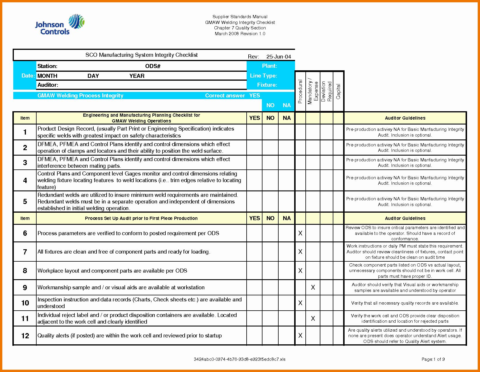 It Security Audit Checklist Template Inspirational Security Audit Information Security Audit Checklist Xls