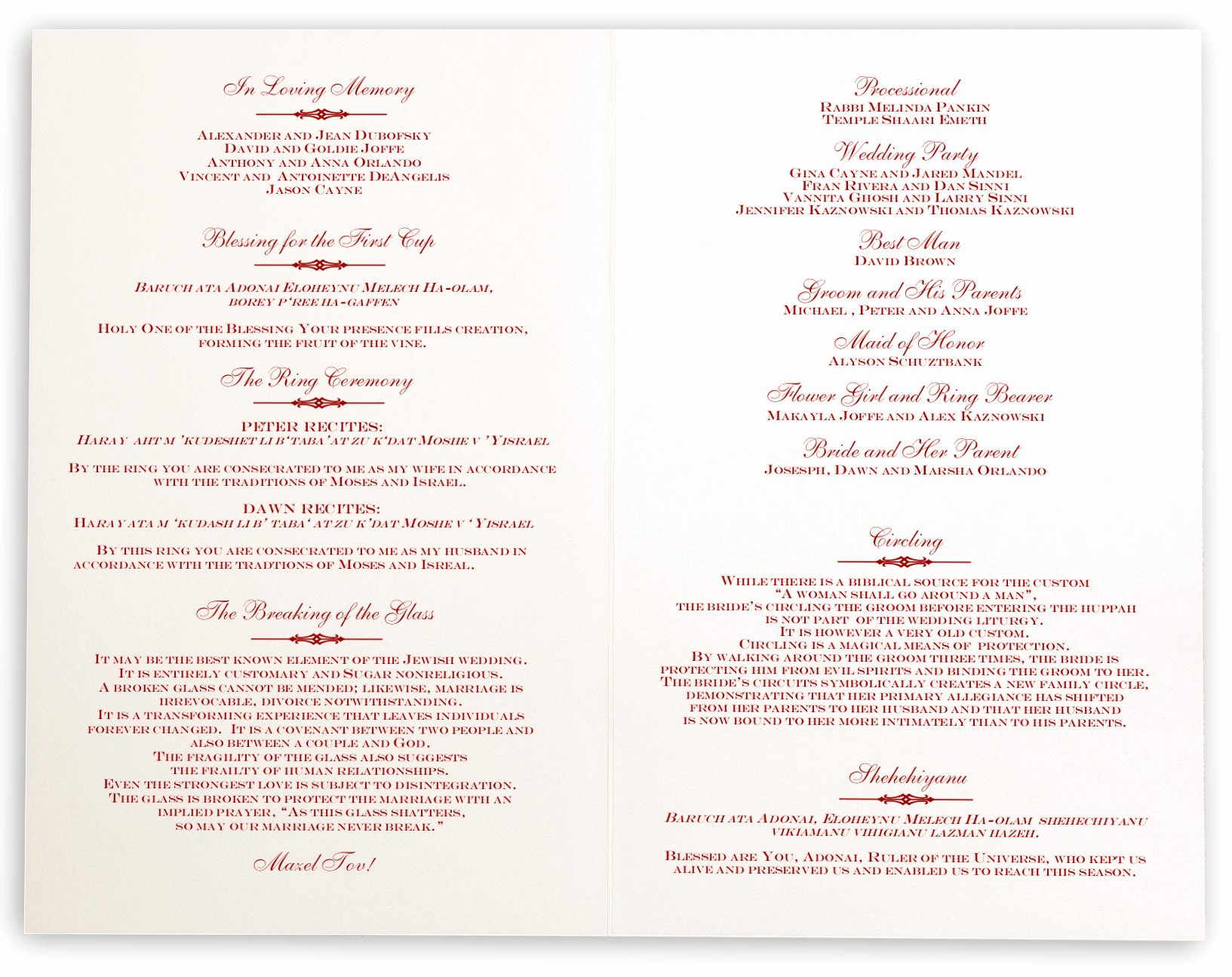 Jewish Wedding Program Template Best Of Elegance and Engravers Jewish Wedding Ceremony Program