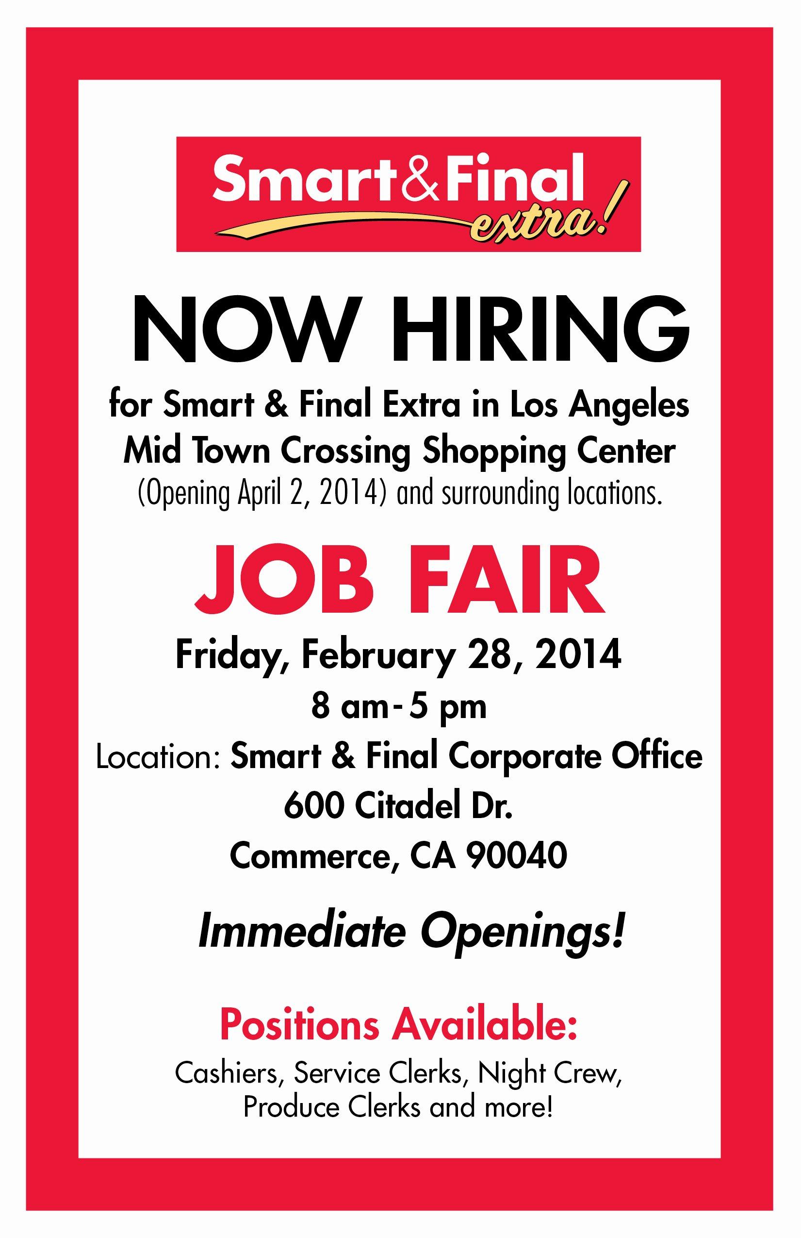 Job Flyer Template Word Beautiful Smart & Final Mid town Crossing – now Hiring – Job Fair