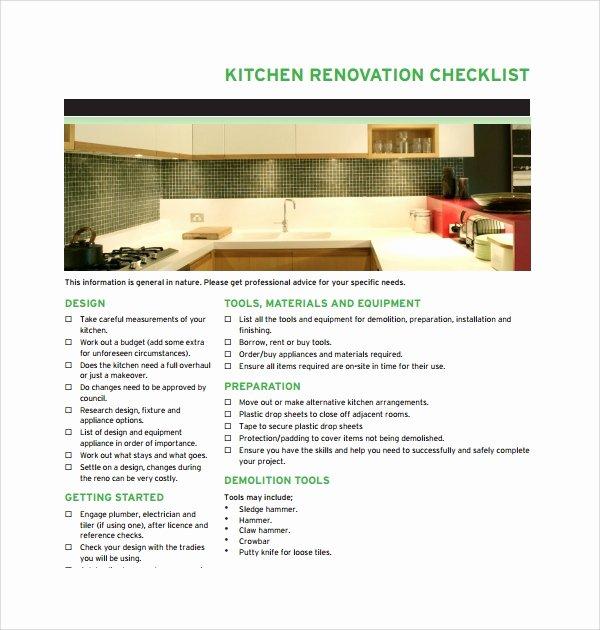 Kitchen Renovation Checklist Template Elegant Sample Renovation Checklist Template 9 Free Documents