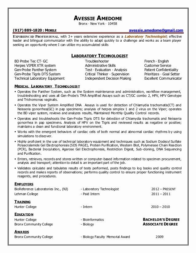 Laboratory Technician Resume Sample Awesome Avessie Amedome Resume Laboratory Technologist