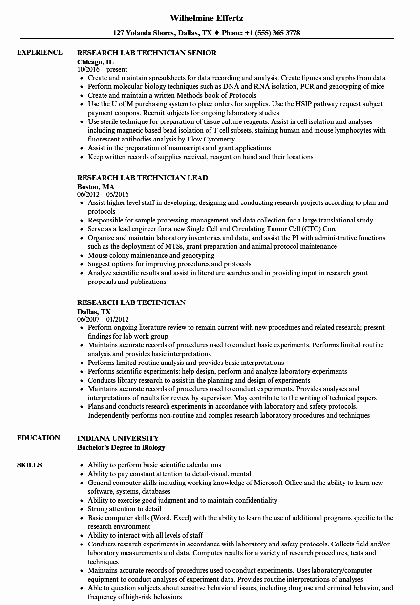 research lab technician resume sample