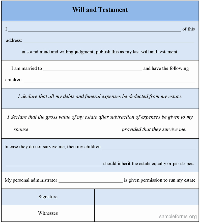 Last Will and Testament Template Microsoft Word Beautiful Will and Testament form Sample forms